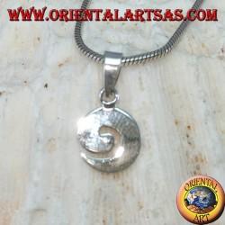 Ciondolo in argento a forma spirale piccola piatta
