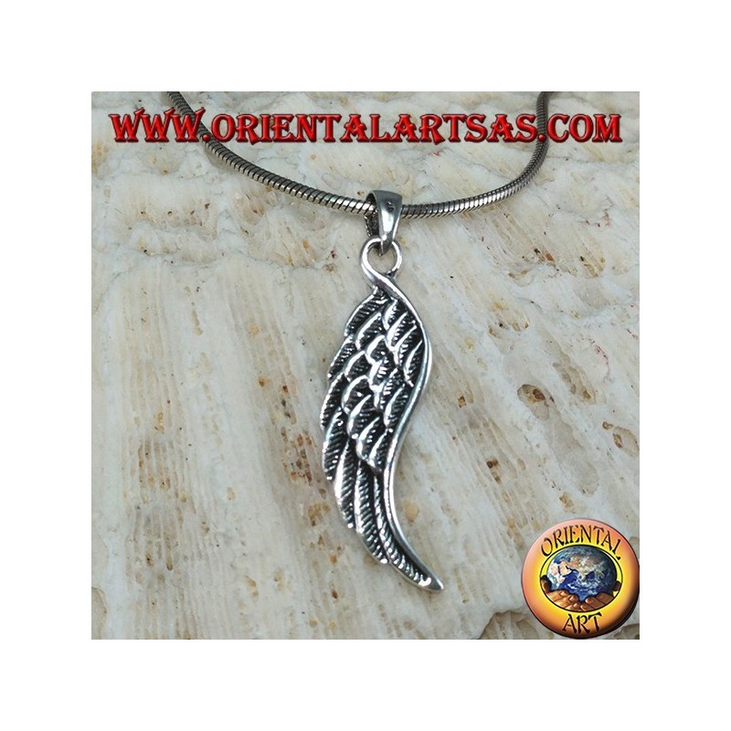 Silver double-sided angel wings pendant (medium)