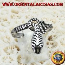Anello in argento 925 a forma serpente intagliato a mano