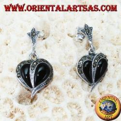 Серебряные серьги с ониксом и марказитом, в форме сердца