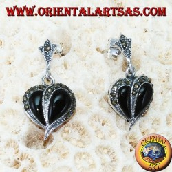 Silver earrings with onyx and marcasite, heart-shaped