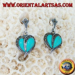Silver earrings with turquoise and marcasite, heart-shaped