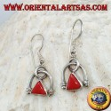 Silver earrings with natural triangular coral