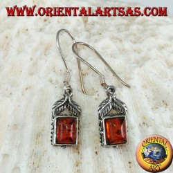 Silver earrings with rectangular amber and two leaves