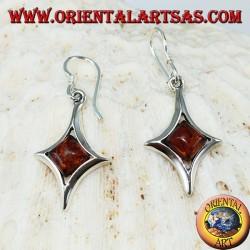 Красивые серебряные серьги с янтарем