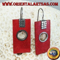 Silver earrings with rectangular madrepora and round hole