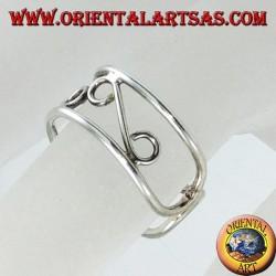 Anello in argento da piedi o falange con lavorazione a filo
