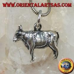 Three-dimensional bull silver pendant