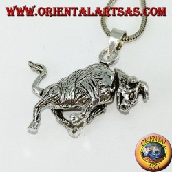 Pendant in silver three-dimensional bull mobile moves legs and head
