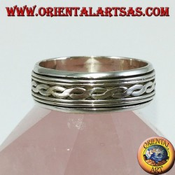 Anello fedina in argento Girevole antistress a due fili intrecciati centrali