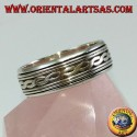 Silver loop ring Antistress swivel with two interwoven central threads