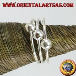 Серебряное кольцо с ногами или трехпроводными фалангами с тремя шарами