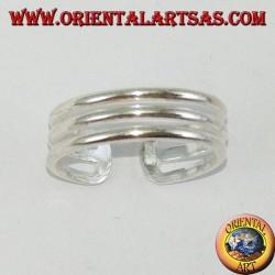 Anello in argento da piedi o falange a tre fili