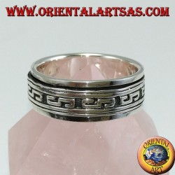 Silver band ring Antistress swivel with bas-relief inlays