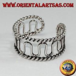 Anello in argento brunito da piedi o falange, filo ad onde