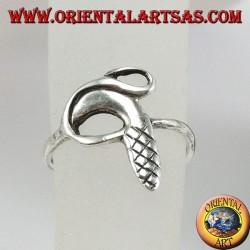 Серебряное кольцо с ногами или фалангой, змееподобное