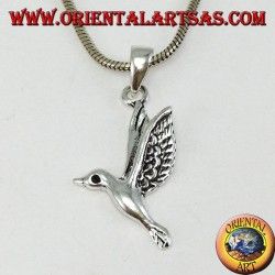 Silver pendant the hummingbird