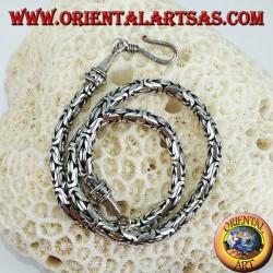 Collana in argento snake Indonesiano BOROBUDUR  cm 40 maglia bizantina