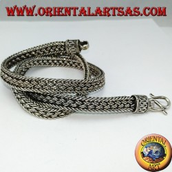 Silver choker necklace, 50 cm flat braided snake