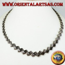 Necklace in 925 ‰ silver ethnic flat choker