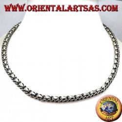 Halskette in 925 ‰ Silber Chokergeflecht und Ringe