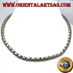 Necklace in 925 ‰ silver choker braid and rings