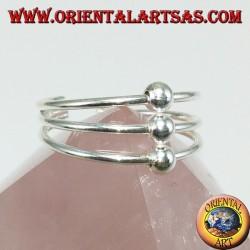 Bague en argent avec pieds ou phalanges à trois brins avec trois sphères alignées