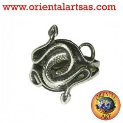 Anello due cobra attorcigliati in argento