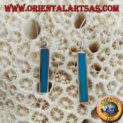 Silver earrings with bar with turquoise paste