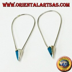 Silver bow earrings with turquoise paste on the tip
