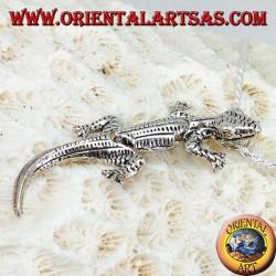 Ciondolo in argento Geco gecko mobile con testa in su