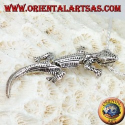 Pendant in silver, Gecko mobile gecko with head up