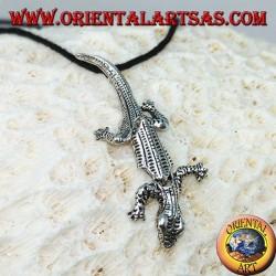 Anhänger in Silber, Mobile Gecko mit Kopf nach unten
