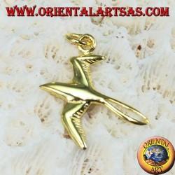 Hirondelle pendentif en argent plaqué or
