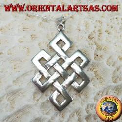 Pendentif en argent 925, noeud Srivatsa ou infini tibétain