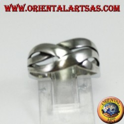 Silver ring with crossed bands