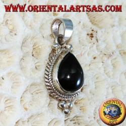 Ciondolo in argento con una black star ( a goccia )