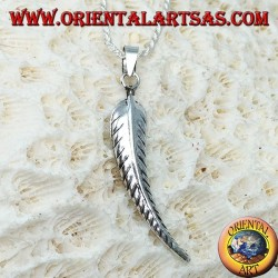 Silver pendant in the shape of a feather symbol of purification