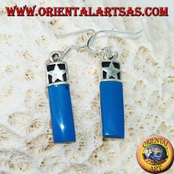 Silver earrings with a barrel with a bas-relief star and turquoise paste