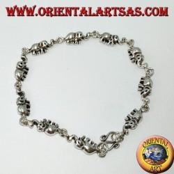Серебряный браслет с 10 слонами в ряд с хоботком вверх