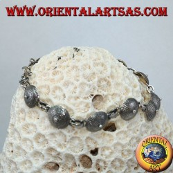 Silver bracelet, shield ethnic design