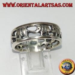 Anello a fascia in argento 925, elefanti in fila con proboscide in su