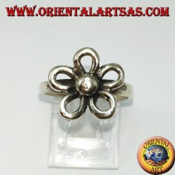 Silver ring with orange flower (auspicious symbol)