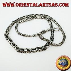 Collana in argento, borobudur a scalare cm 52 maglia bizantina