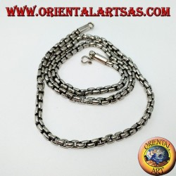 Necklace in 925 silver chain with square rings