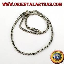 Silver necklace, snake BOROBUDUR 40 cm Byzantine mesh
