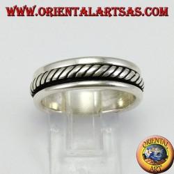 Anello fedina in argento Girevole antistress, modello corda