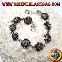 Silver bracelets with round amethysts, handmade