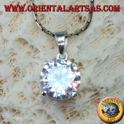 Silver pendant with round zircon