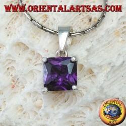 Pendentif en argent avec zircone cubique carrée violet améthyste